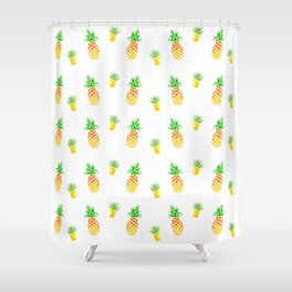 Tropical Pineapple Cactus Shower Curtain