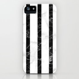 marble vertical stripe pattern - white marble black marble iPhone Case