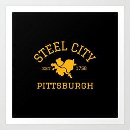 Pittsburgh Steel City Established 412 Pennsylvania Vintage Sign Art Print