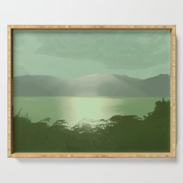 Green Views and White Top Serving Tray