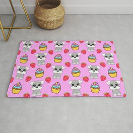 Cute happy funny baby Schnauzer puppy, sweet adorable yummy colorful Kawaii cupcakes and red summer strawberries cartoon bright pastel baby pink pattern design Rug