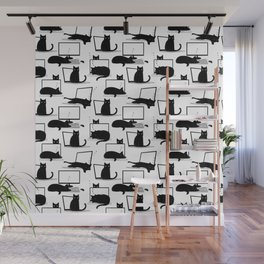 Cats Sitting on Laptops Wall Mural