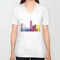manchester V-neck T-shirts featuring Manchester skyline pop by Paulrommer