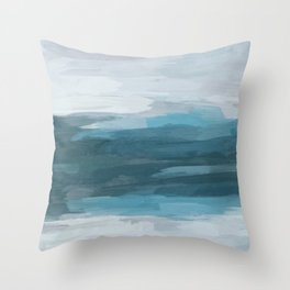 Teal Ocean Blue Gray Abstract Nature Art Painting Throw Pillow