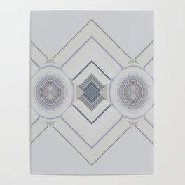 Classic Multi pattern White Grey Blue Design Poster