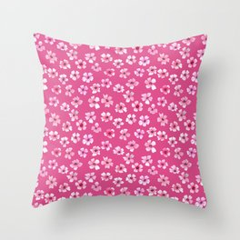 Loose pink flowers in hot pink background Throw Pillow