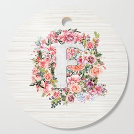 Initial Letter F Watercolor Flower Cutting Board