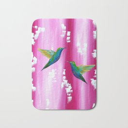 Pink and green with white Bath Mat