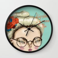 hipster Wall Clocks featuring Hipster by Maripili