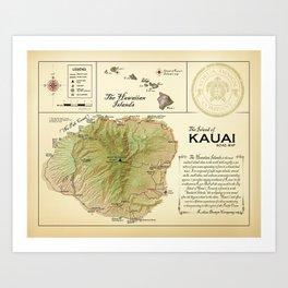 The Island of Kauai [vintage inspired] Road Map Art Print