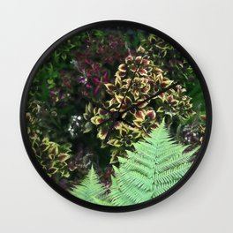 Painted Nettles and Ferns Wall Clock
