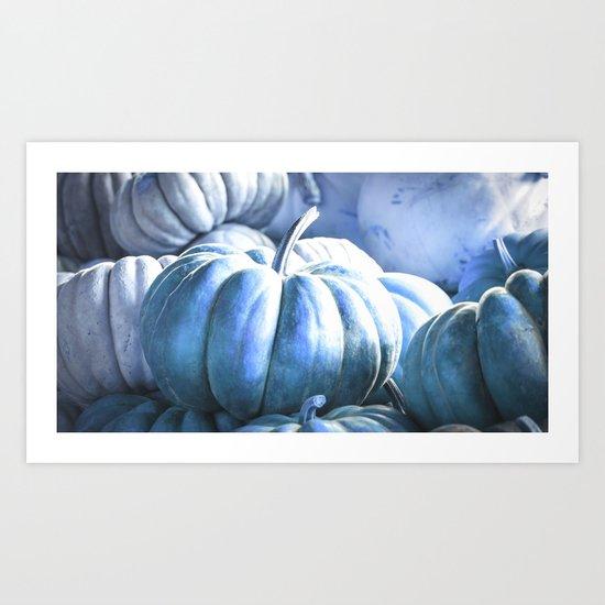 Autumn Pumpkins Blue Art Print