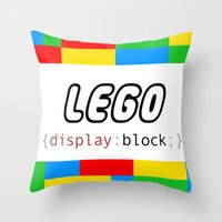 pun Throw Pillows featuring CSS Pun - Lego by iwantdesigns