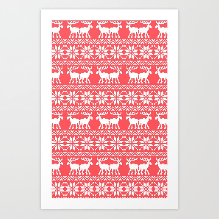 Ugly Christmas Sweaters Patterns.Ugly Christmas Sweater Moose Pattern Infra Red Art Print By Rexlambo