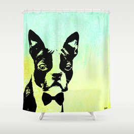 Boston Terrier in a Bow Tie Shower Curtain
