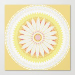 Sunshine Yellow Flower Mandala Abstract Canvas Print