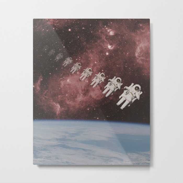 ASTRONAUT TRAVELING THROUGH TIME AND SPACE Metal Print