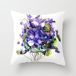 Violet flowers, wild violet flowers Throw Pillow