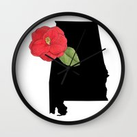 alabama Wall Clocks featuring Alabama Silhouette by Ursula Rodgers