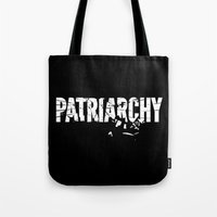 patriarchy Tote Bags featuring Smash The Patriarchy by MLauxDesign