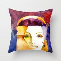 madonna Throw Pillows featuring Lady Madonna by Ecsentrik