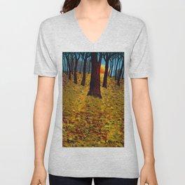 Trunks trees in sunrise Unisex V-Neck