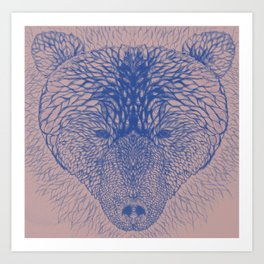 Bear in blue Art Print