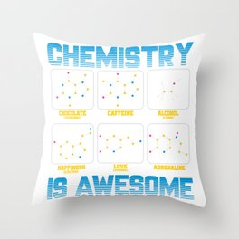 Chemistry Caffeine Alcohol Love Molecule Gift Throw Pillow