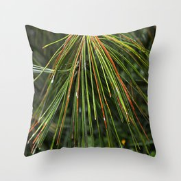 Sappy Multicolor Pine Needles Throw Pillow