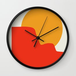 Red mountain sunrise Wall Clock
