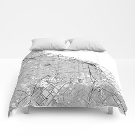 Buenos Aires White Map Comforters