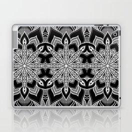 Mandala: Black Gray White Flowers Laptop & iPad Skin
