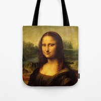 mona lisa Tote Bags featuring Mona Lisa by Elegant Chaos Gallery
