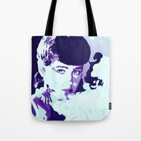 blade runner Tote Bags featuring RACHAEL // BLADE RUNNER by mergedvisible