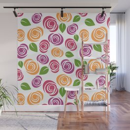 Flowers, Leaves, Blossoms - Orange Pink Purple Wall Mural