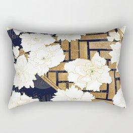 Navy Herringbone with Peony Flowers Print Rectangular Pillow