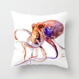 Octopus, orange purple aquatic animal design Throw Pillow