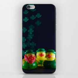 Happy St. Patrick's Day with St. Patrick's Day Rubber Ducks and Shamrock Shaped Bokeh iPhone Skin