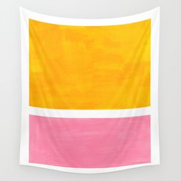 Pastel Yellow Pink Rothko Minimalist Mid Century Abstract Color Field Squares Wall Tapestry