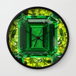 EMERALDS &  LIME GREEN PERIDOT GEMS BIRTHSTONES Wall Clock
