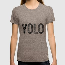 YOLO - Black Distressed Letters T-shirt