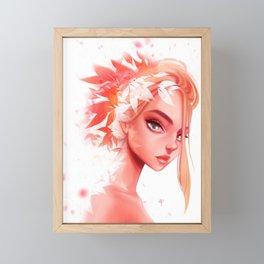 Blond Bun Flowers Framed Mini Art Print