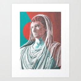Augustus As Pontifex Maximus (Aqua & Red) Art Print