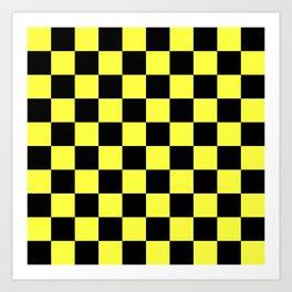 Black and Yellow Checkerboard Pattern Art Print