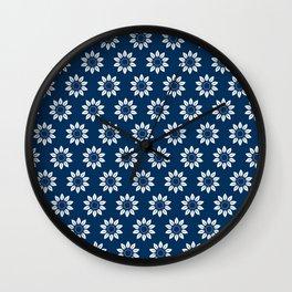 Ten Petal Flower Pattern (Navy Blue) Wall Clock