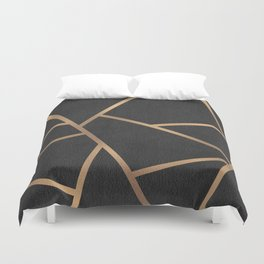 Dark Grey and Gold Textured Fragments - Geometric Design Duvet Cover