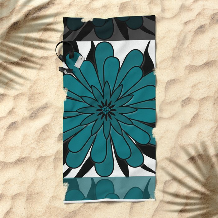 Blue flower . Beach Towel