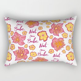 Pink and Yellow Floral 'Not Your Babe' print Rectangular Pillow