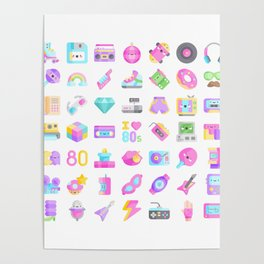 CUTE '80S PATTERN (RETRO THROWBACK EIGHTIES) Poster