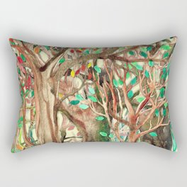 Walking through the Forest - watercolor painting collage Rectangular Pillow